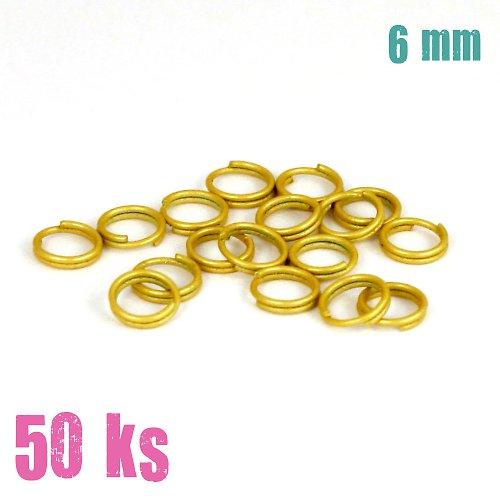 Zlatobéžové dvojité kroužky 6 mm, 50 ks