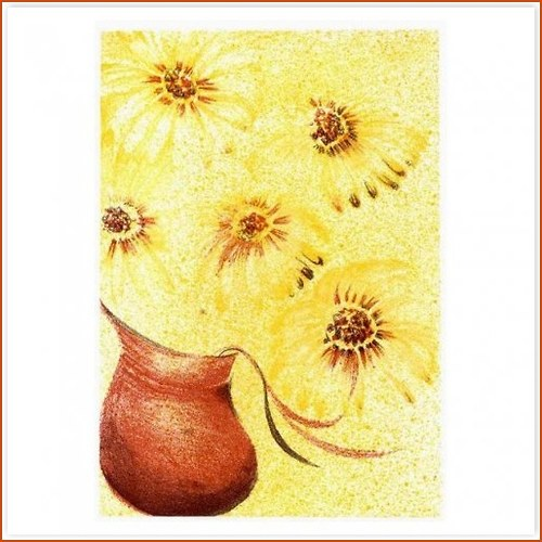 Originál litografie - Květiny ve džbánu