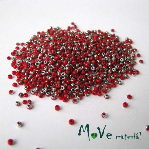 Český rokajl červeno-stříbrný cca 2mm 20 g