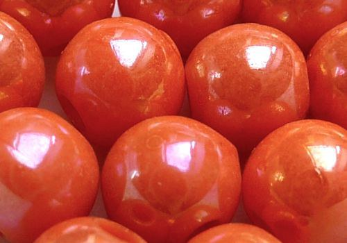 Plastové kuličky duhové 6 mm - oranžová / 10 ks
