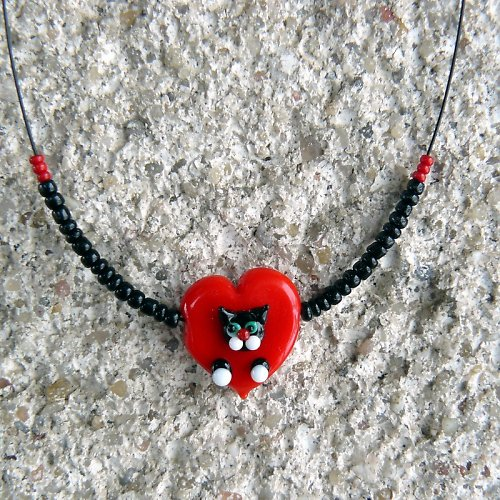Valentýnské srdce s černou kočkou