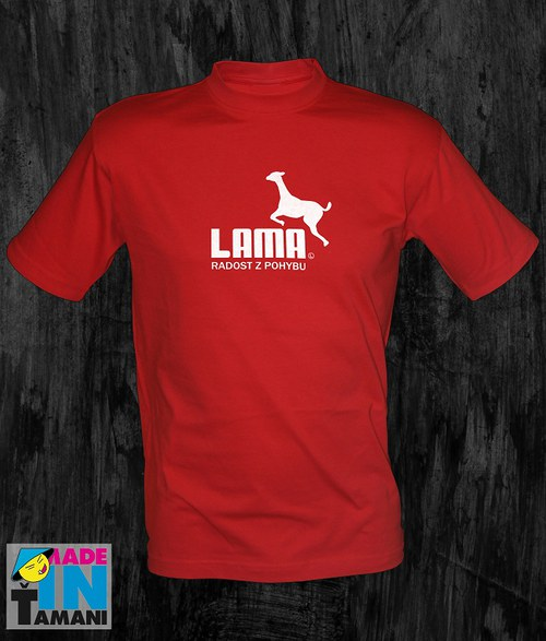 Pánské červené tričko s Lamou