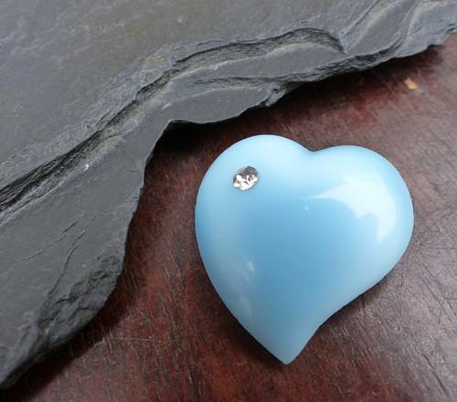 Srdce jako nebe... skleněná brož