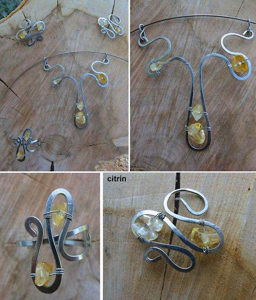 Šperky z tepané oceli (citrín)