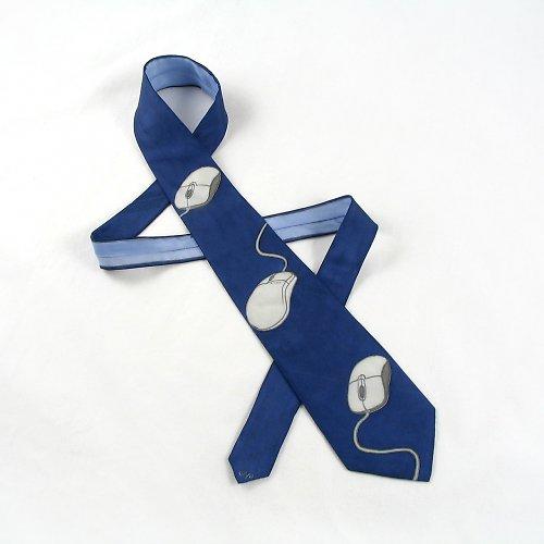 Počítačová kravata s myšáky tmavě modrá