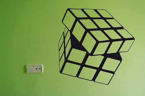 Rubikova kostka - samolepka na zeď