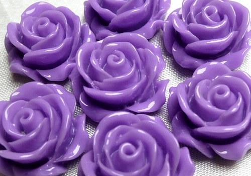 Plastová růže plnokvětá 15 mm - fialová / 2 ks