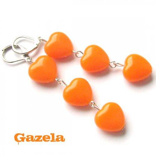 Náušnice Srdce oranžová