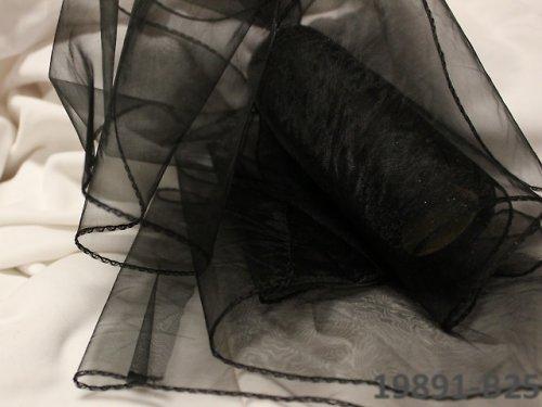 19891-B25 Široká stuha organza 15cm/0.5m ČERNÁ