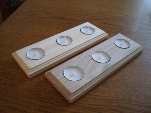 Svícen z přírodního dřeva na 3 svíčky