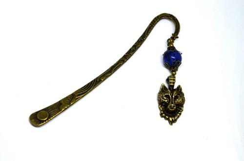 Záložka lapis lazuli a vlk mosaz velká