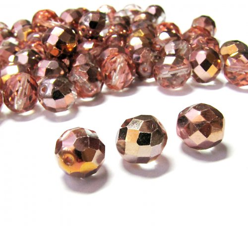 Broušené, růžovozlaté korálky 10 mm, 7 ks