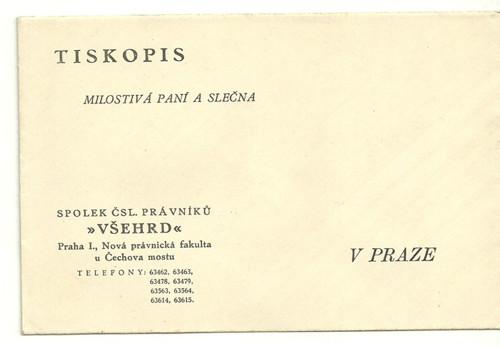 Pozvánka na raut ČSL. Právníků 1931 Lucerna