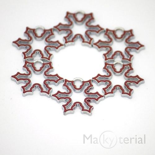 Vánoční vločka kovová - červená- 2ks