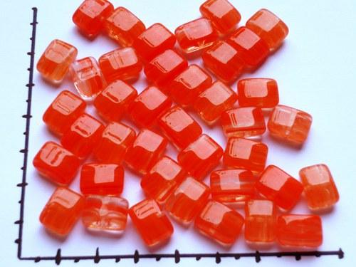 Korálky polštářky oranžové, 20g