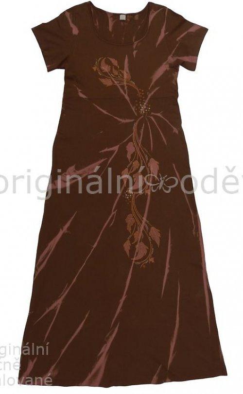 Malované šaty - listy - hnědé