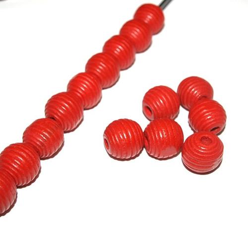 Dřevěné korálky vroubky kuličky 14 mm (cena 25ks)