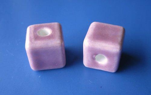 Porcelánové kostičky cena za 2ks - barva růžová