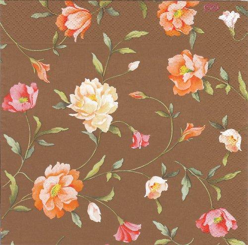 Ubrousek vintage květiny na hnědé
