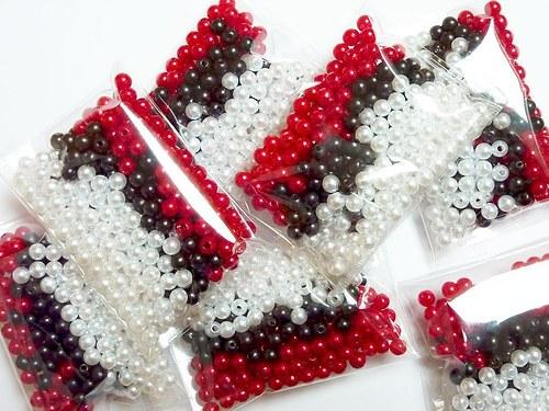 *300ks* Voskové perle mix Glace Ø 4mm červená