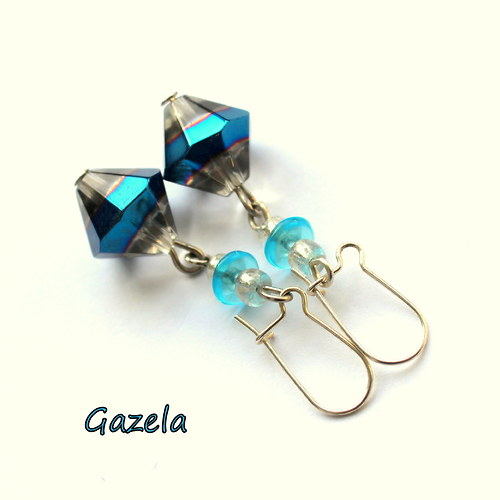 Náušnice Modré krystaly