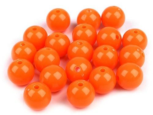 Plastové korálky 12mm kulička / oranžová (10ks)