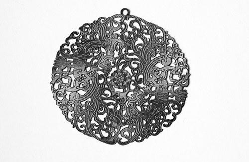Měděné kolečko - 46mm světle stříbrné