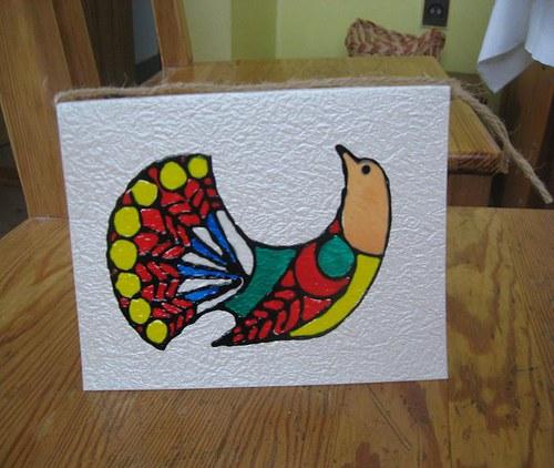 Přání s barevným ptáčkem - SLEVA!