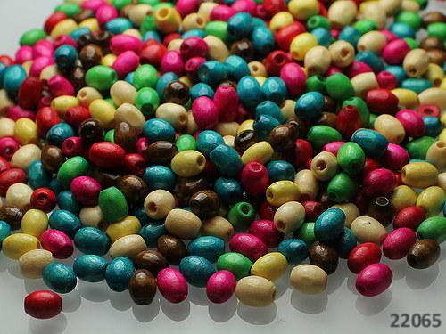 22065 Dřevěné korálky barelky 6/4 MIX, bal.7g