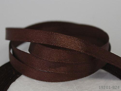 19201-B24 Stuha satén 6mm tmavě hnědá, svazek 5m