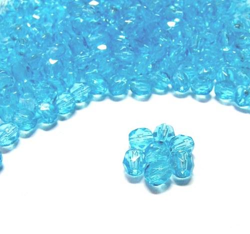Broušené sv. modré korálky 4mm 30 ks