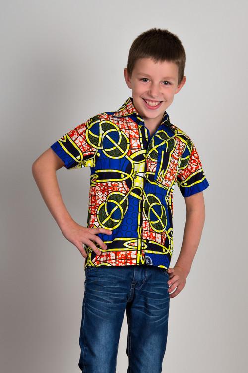 Chlapecká košile modrožlutá