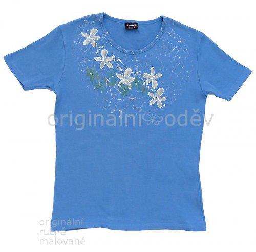SLEVA: Malované tričko dámské - květy - modré