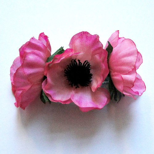 Květinová spona - růžová sasanka