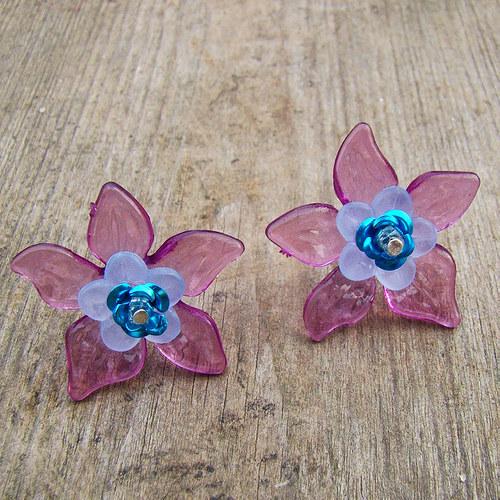 náušnice  - puzety květy