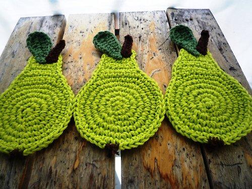 Podložky pod hrníčky - Zelená hruška - 4ks