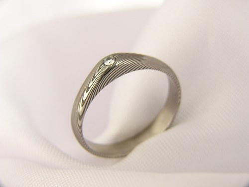 Zásnubní prsten Eomir z damascénské oceli