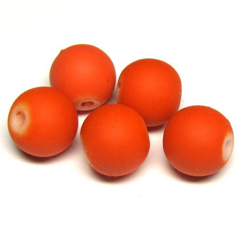 Perly matné - 10 mm - oranžová - 7 ks