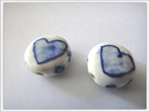 Čínský porcelánový korálek, srdce