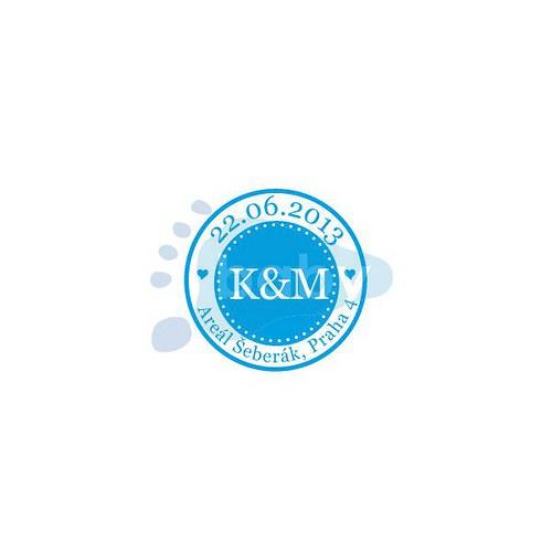 Svatební razítko K & M, bloček, barva