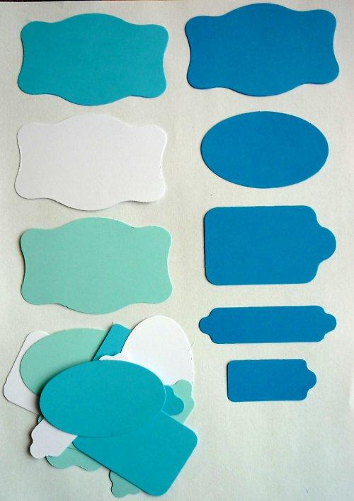 Cedulky chlapecké barvy - výseky 20 ks
