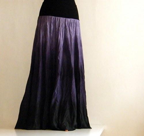 Prostě fialová...dlouhá hedvábná sukně