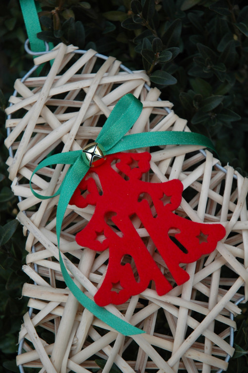 Vánoční zvonek k zavěšení s rolničkou