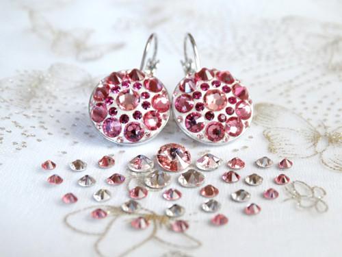 Střední světle růžové mandalové náušnice