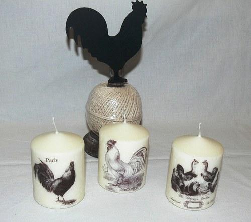 Svíčky - kohouti  ve vintage stylu