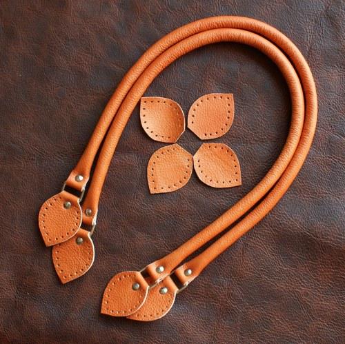 Kožená ucha na kabelku 50 - 52 cm - oranžová