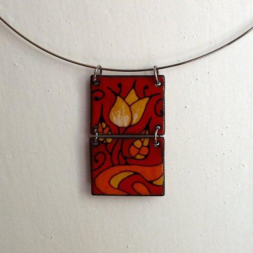 Smaltovaný náhrdelník tulipán