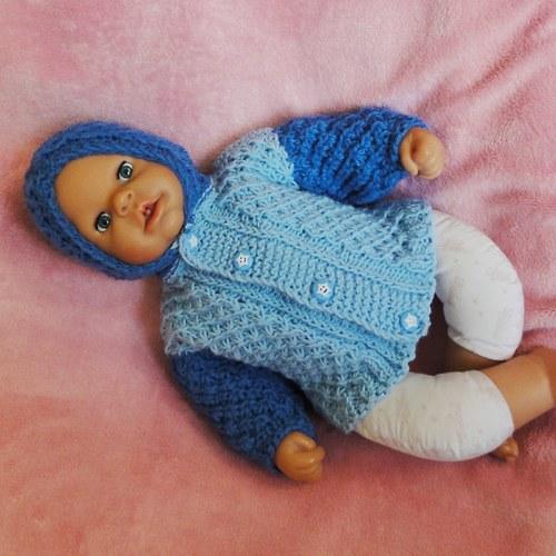 Modrý dvoubarevný svetřík s kapucí