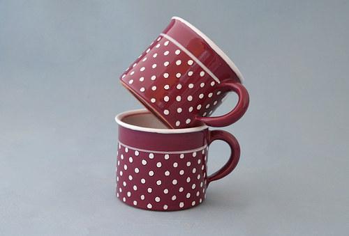 Hrnek fialkovo-růžový puntíkatý - objem 0,3 litru