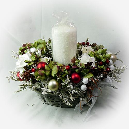 Vánoční košíček -  S hortenzií a zmrzlou svíčkou